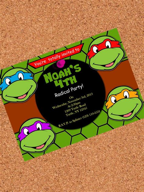 printable ninja turtle invitation template printable invitation teenage mutant ninja turtles