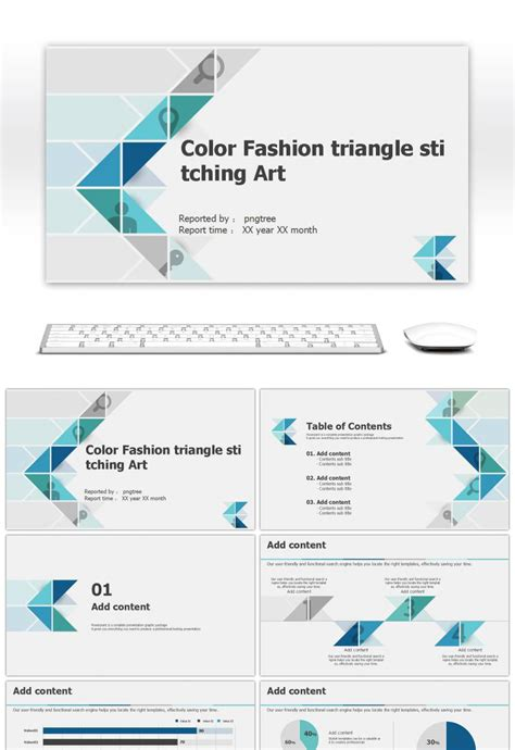 Awesome Color Fashion Triangle Simple Splicing Art Business Ppt Template For Unlimited Download Simple Ppt Template