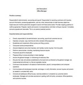office manager description template 11 office manager description templates free sle