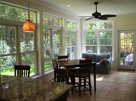 sunroom dining room kitchen renovation and sunroom addition traditional