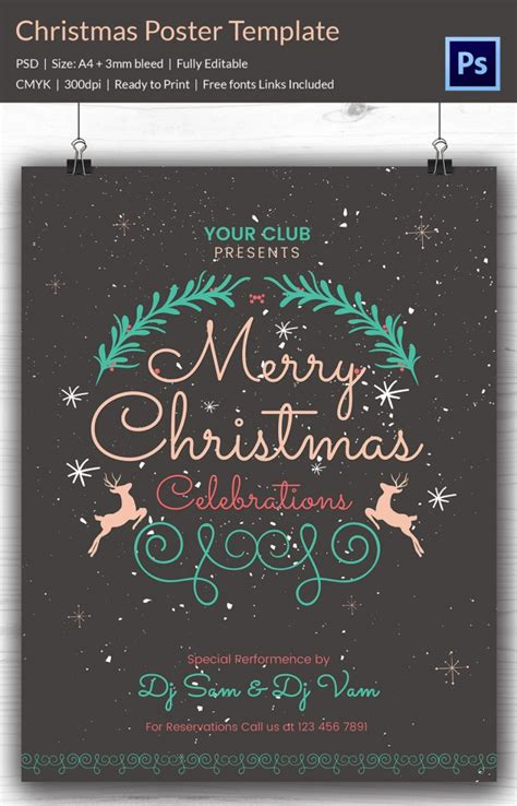 22 christmas posters psd format download free