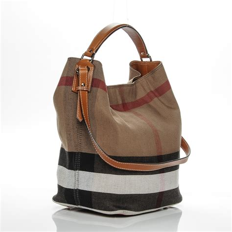 Burberry Check Canvas Hobo by Burberry Canvas Check Medium Ashby Hobo Saddle Brown 193696