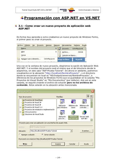 tutorial visual studio net repsol ypf tutorial asp net y ms visual studio net 2003