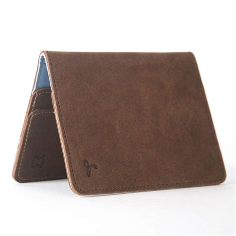 light brown leather wallet vintage leather bifold wallet chestnut brown light blue