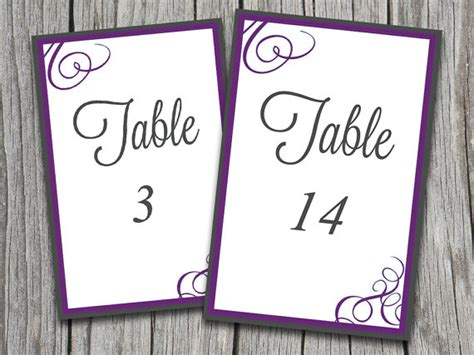 template wedding table number cards instant bordered flourish quot quot table number