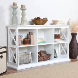 Modern white console table with stackable bookcase