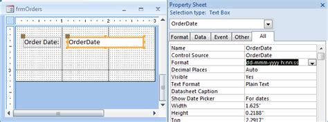 format date access ms access 2007 define a custom format for a date time