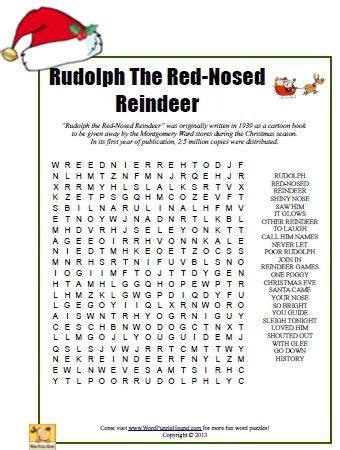 printable version of rudolph the red nosed reindeer rudolph the red nosed reindeer word search printable