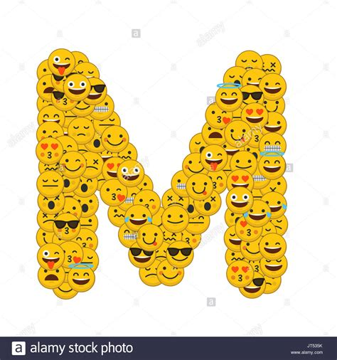 Reference Letter In Italiano emoji smiley characters capital letter m stock photo