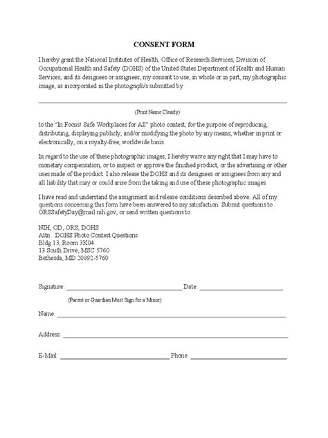 photography consent form   templates   word