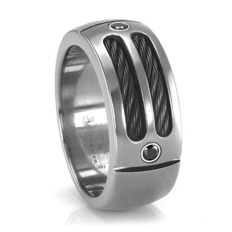sport black spinel cable ring edward mirell mens titanium