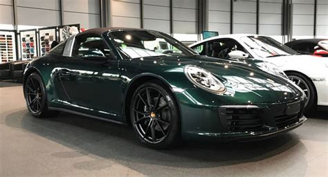 green porsche jet green porsche 991 2 targa 4 stuns with brown roof