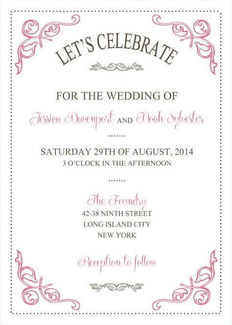 Wedding Invitations Word Template by Wedding Invitations Template Wedding Invitations