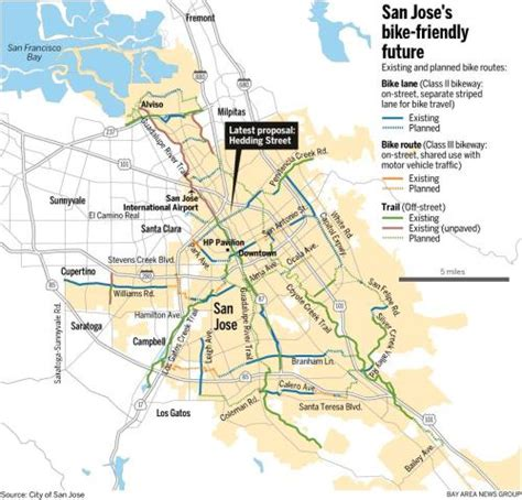 san jose bike trails map map san jose bike routes existing and planned san jose