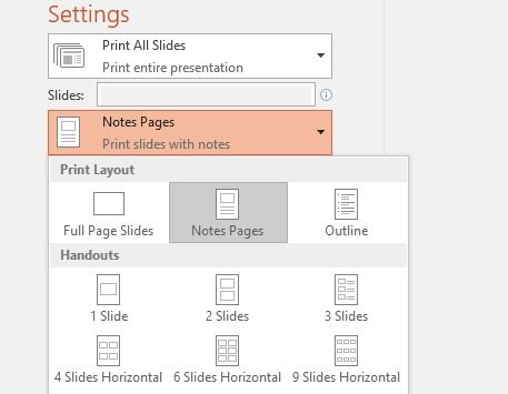 powerpoint layout options print slides with or without speaker notes powerpoint