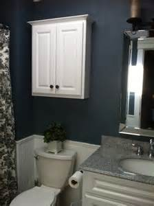 Just painted this bathroom steel blue and added toile curtain need