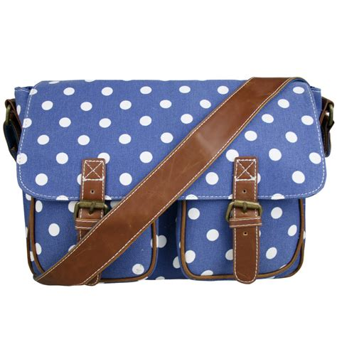 Fossil Satchel Navy Polkadot l1157d2 miss lulu canvas satchel polka dot navy