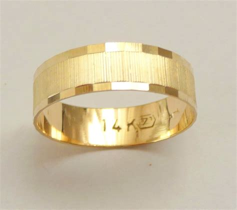 Mens Gold Wedding Bands by Gold Wedding Band Wedding Ring 6mm Wide Ring For