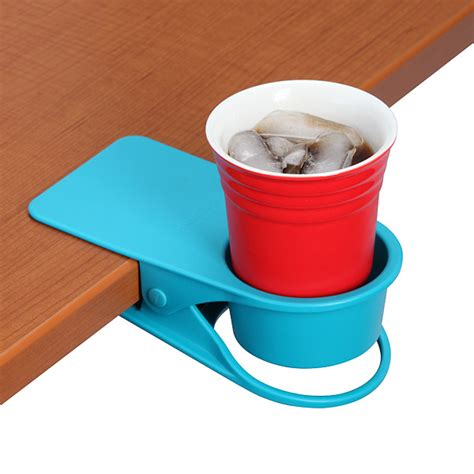 drinklip is a clip on cupholder for your desk
