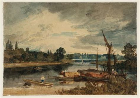 thames river near hounslow the river thames near isleworth punt and barges in the