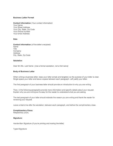 business letter template word free free business letter template format sle get