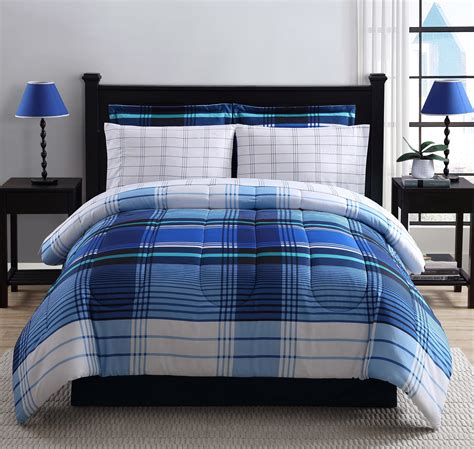 blue plaid bedding colormate complete bed set blue plaid