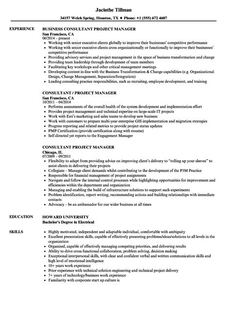 project management consultant resume sles consultant project manager resume sles velvet