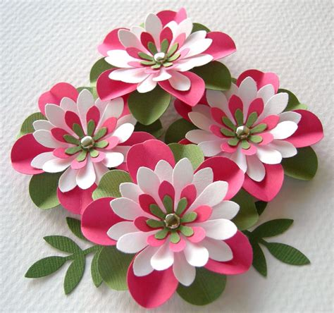Paper Flowers Handmade - paper flowers watermelon creased with brads by
