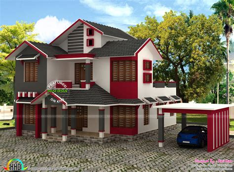 slope roof low cost home design kerala and floor plans 1860 square feet sloped roof house kerala home design