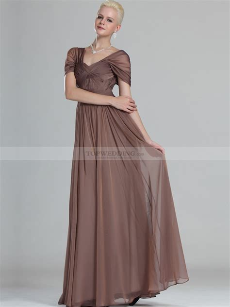 Longdress Cap cap sleeved criss cross bodice a line chiffon evening