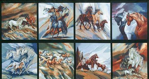 Western Drapery Beautiful Horse Fabric Panel