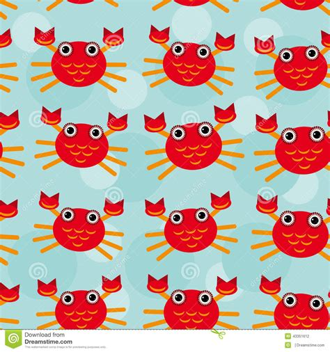 cute animal pattern background red crayfish seamless pattern with funny cute stock vector