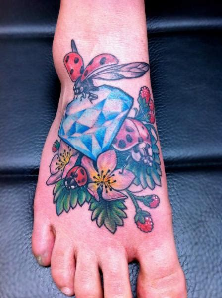 tattoo diamond foot foot diamond ladybug tattoo by skin deep art