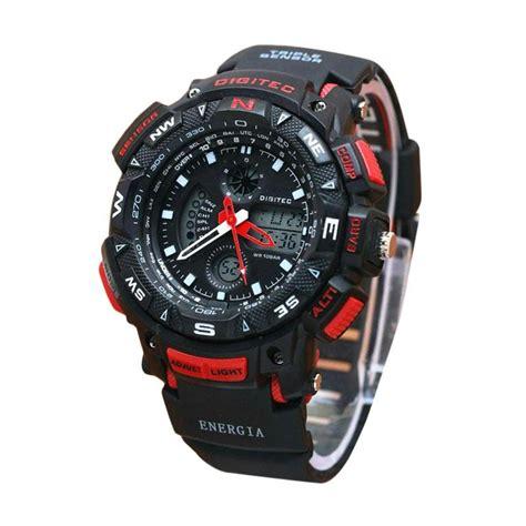 Jam Tangan Dual Merah jual digitec dual time dg2044h jam tangan pria hitam