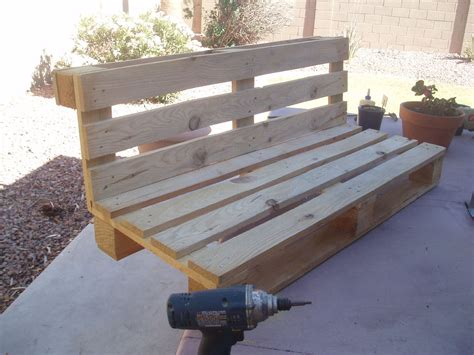 benches made from pallets pallet bench project side support