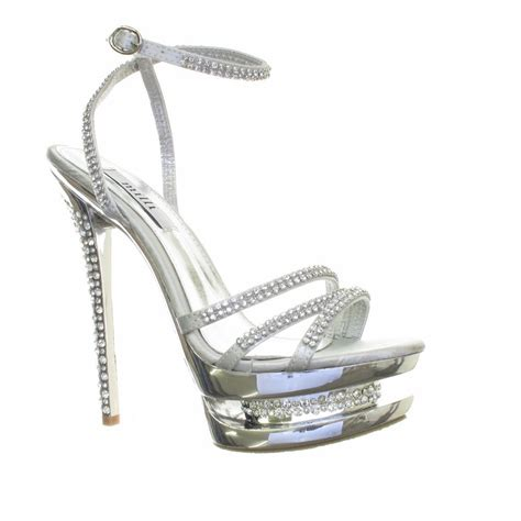 silver strappy high heels womens silver diamante high heel diamante platform strappy
