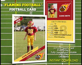 Football Trading Card Template by Trader Cards Etsy