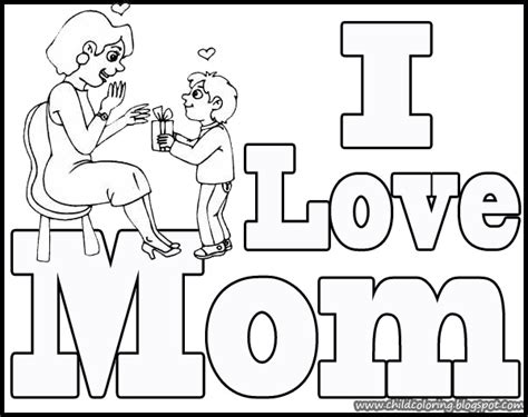 i love mom coloring page child coloring