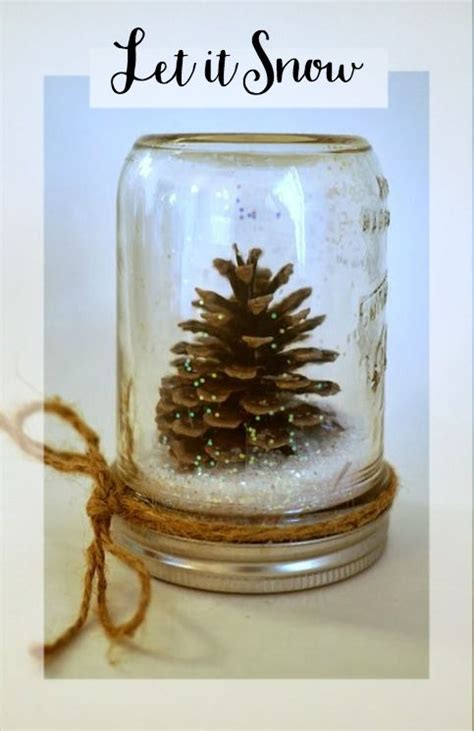 winter pinecone snow globe craft idea  glue