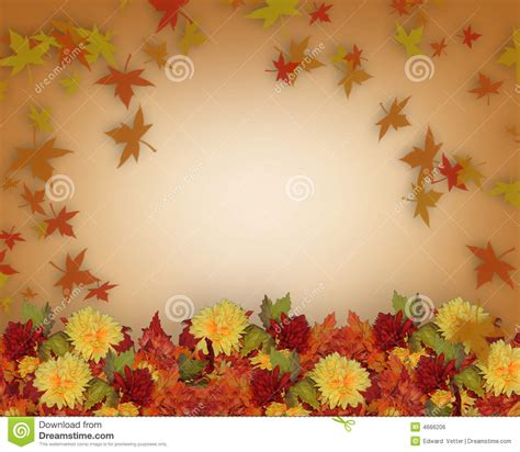 Wedding Car Fall by Thanksgiving Fall Leaves And Flowers Border Design Stock