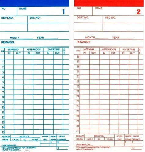 attendance punch card template time recorder punch card 100pcs end 7 18 2016 12 18 pm