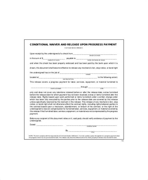 7 Sle Conditional Release Forms Sle Templates Conditional Lien Release Template