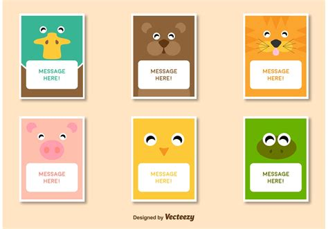 Characters Cards Template by Friendly Animal Characters Card Template Vectors