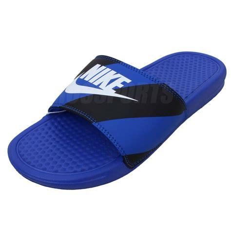Nike Benassi Jdi Print Just Do It 2014 Blue Black Sports Slippers Slide Ebay