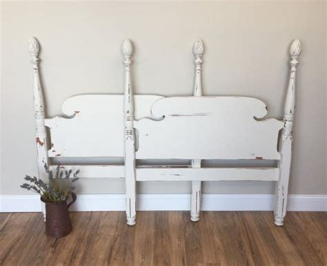 White Cottage Headboard Bed Headboard Vintage Size Headboard White Cottage Chic Bed Pineapple Bed