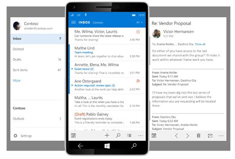 mail mobile the upcoming outlook mobile app for windows 10 looks