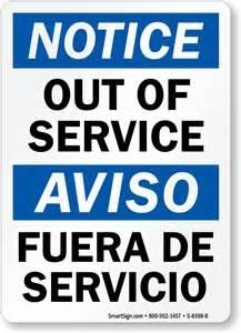 out of service fuera de servicio bilingual sign online