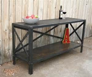 Metal Buffet Table Handmade Scrap Metal And Wood Industrial Style Table By