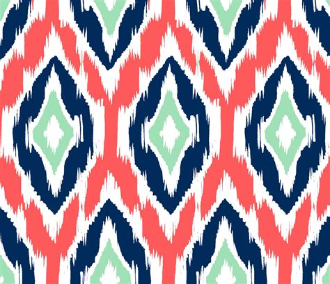 ikat pattern ikat fabric by the yard coral navy and mint