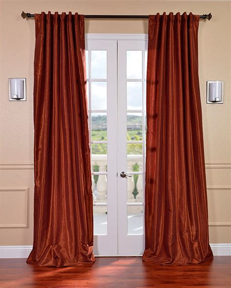 Burnt Orange Vintage Faux Dupioni Silk Curtain Panel Burnt Orange Kitchen Curtains